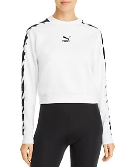 PUMA - Houndstooth-Inset Cropped Sweatshirt