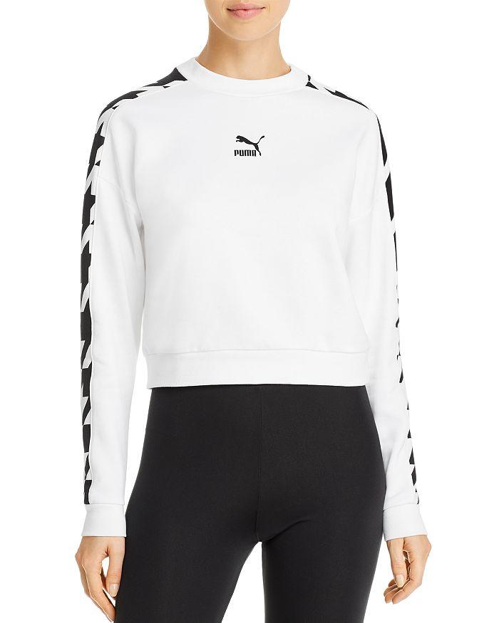 PUMA - Houndstooth-Inset Cropped Sweatshirt