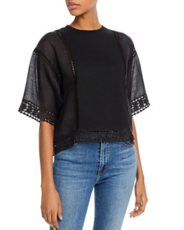 See by Chloé - Crochet-Inset Short Sleeve Top