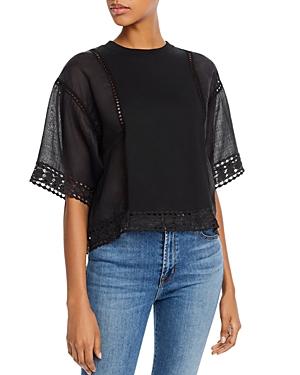 See by Chloe Crochet-Inset Short Sleeve Top
