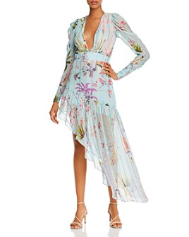 Hemant and Nandita - Liv Asymmetric Plunging Floral Dress