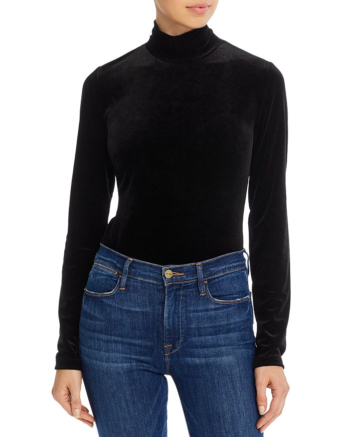 French Connection STINA VELVET MOCK-NECK TOP