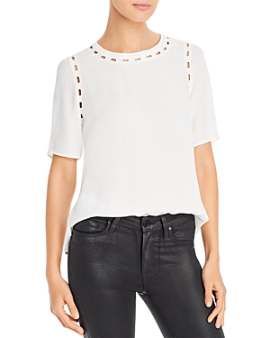 Embroidered Cutout Detail Top