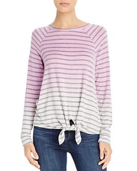Cupio - Tie-Waist Striped Ombré Top