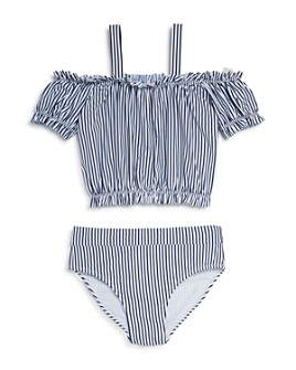 Habitual Kids - Girls' Skye Stripe Off-the-Shoulder Two-Piece Swimsuit - Big Kid