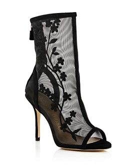 Stuart Weitzman - Women's Vanna Mesh Peep-Toe High-Heel Boots