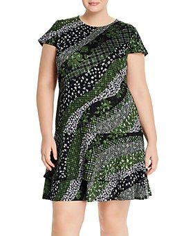 MICHAEL Michael Kors Plus - Mixed-Print Tiered-Hem Dress