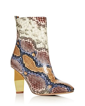 KURT GEIGER LONDON - Women's Daxon Snake-Embossed High-Heel Booties
