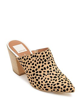 Dolce Vita - Women's Angela Leopard-Print Stacked Heel Mules