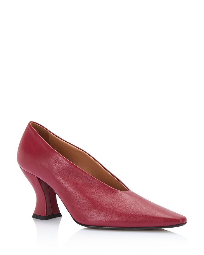 Bottega Veneta - Women's Square-Toe Leather Pumps