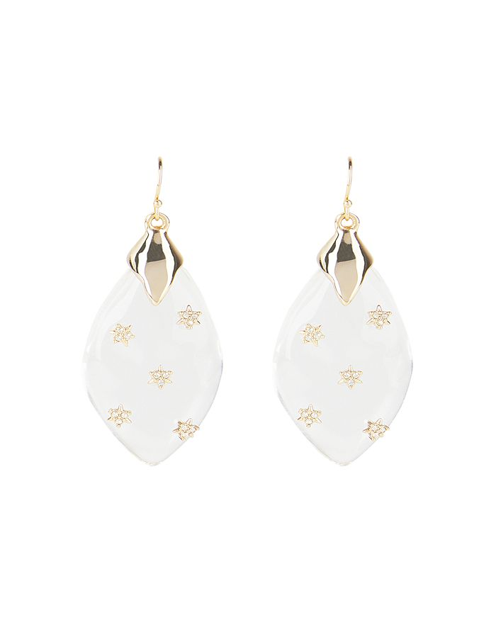 Alexis Bittar Jewelries CRYSTAL & LUCITE TEARDROP DROP EARRINGS