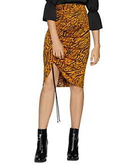 BCBGENERATION - Tiger-Stripe Ruched Drawstring Skirt