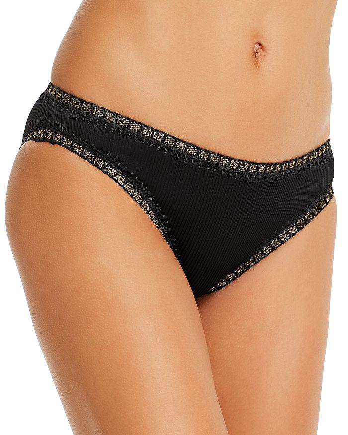Platinum Inspired By Solange Ferrarini Ribbed High-waist Bikini Bottom - 100% Exclusive In Black Gold