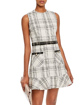 AQUA - Plaid Tweed Dress - 100% Exclusive