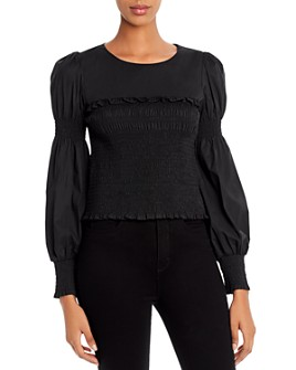 Lucy Paris - Balloon-Sleeve Smocked Top