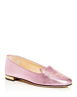 Charlotte Olympia - Women's Kitty Embroidered Ballet Flats
