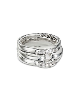 David Yurman - Sterling Silver Cushion Link Ring with Diamonds