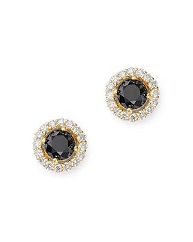 Bloomingdale's - Black & White Diamond Halo Stud Earrings in 14K Yellow Gold - 100% Exclusive
