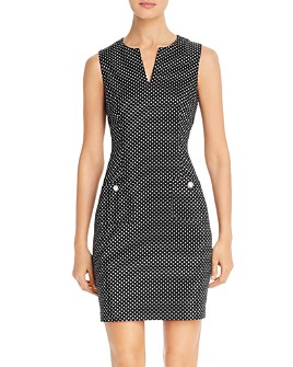 KARL LAGERFELD PARIS - Sleeveless Dotted Sheath Dress