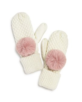 AQUA - Girls' Pom-Pom Mittens - 100% Exclusive