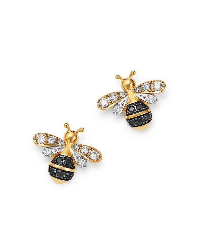 Bloomingdale's - Black & White Diamond Bumble Bee Earrings in 14K Yellow Gold - 100% Exclusive