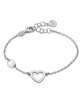 Majorica - Simulated Pearl & Open Heart Bracelet in Sterling Silver