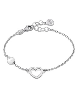 Majorica - Simulated Pearl & Open Heart Bracelet in Sterling Silver