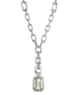 "David Yurman - Sterling Silver Stax Drop Necklace with Prasiolite & Diamonds, 17.5"""
