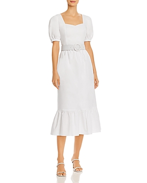 Endless Rose Belted Puff-Sleeve Midi Dress-Women