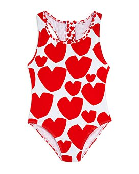 Stella McCartney - Girls' Heart Print Once-Piece Swimsuit - Little Kid, Big Kid