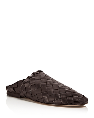 Bottega Veneta Men's Intrecciato Fondente Leather Slippers