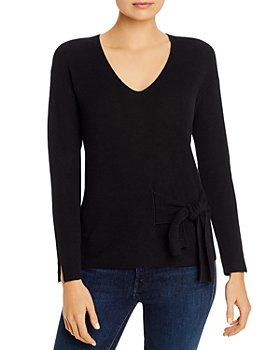 NIC and ZOE - Tie-Front V-Neck Sweater