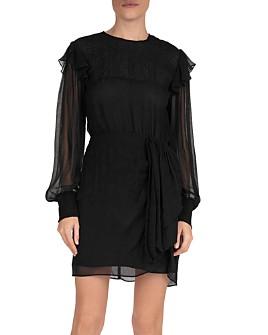 The Kooples - Ruffled Sheer-Detail Silk Mini Dress