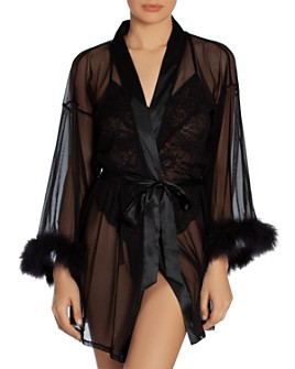 In Bloom by Jonquil - Feather-Trim Mesh Robe