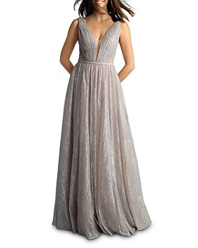 Basix - Metallic Pleated Plunge Gown