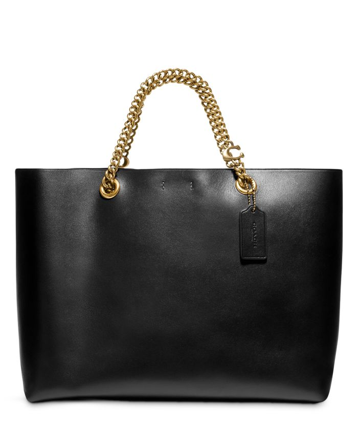COACH Chain Leather Tote    Bloomingdale's
