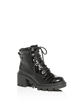 STEVE MADDEN - Girls' JDillan Croc-Embossed Combat Boots - Big Kid