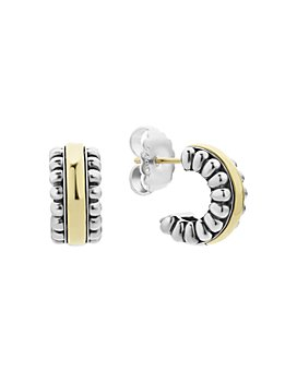 LAGOS - Sterling Silver & 18K Gold Signature Caviar Small Flute Hoop Earrings