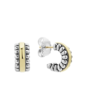 Lagos Sterling Silver & 18K Gold Signature Caviar Small Flute Hoop Earrings-Jewelry & Accessories