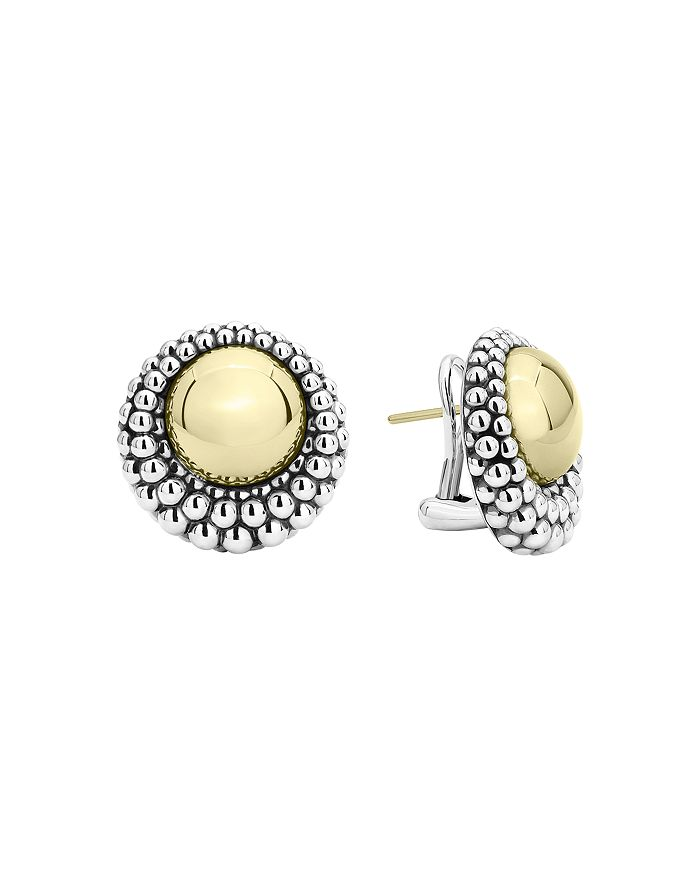 LAGOS - 18K Yellow Gold & Sterling Silver High Bar Stud Earrings