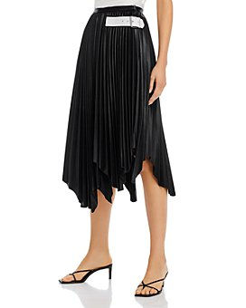 Helmut Lang - Pleated Belted Leather Midi Skirt