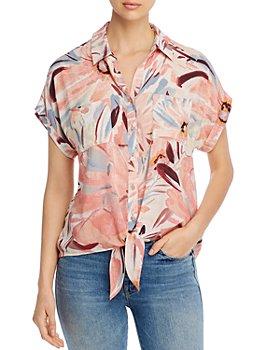 Cupio - Printed Tie-Front Top