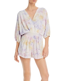 Young Fabulous & Broke - Kyra Tie-Dyed Eyelet Romper