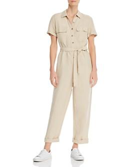 Rails - Belted Button-Front Jumpsuit