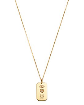 Zoë Chicco - 14K Gold & Diamond Pavé Itty Bitty Eye Heart U Dogtag Necklace, 18""