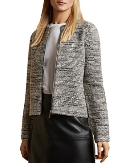 Ted Baker - Zip-Up Boucle Blazer