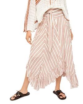 Free People - Giselle Chevron Asymmetric Maxi Skirt