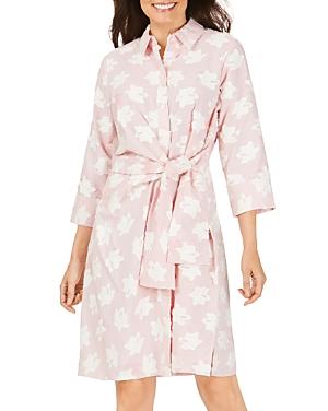 Foxcroft Parisian Clipped Floral Self-Tie Dress