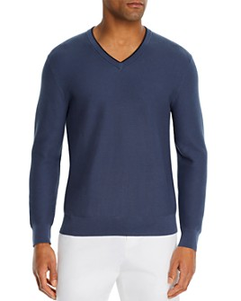 The Men's Store at Bloomingdale's - Cotton Tipped Textured Birdseye Classic Fit V-Neck Sweater - 100% Exclusive