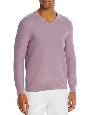 The Men\\\'s Store at Bloomingdale\\\'s Cotton Tipped Textured Birdseye Classic Fit V-Neck Sweater - 100% Exclusive-Men